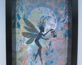 Fairy with Lantern Moonlit Silhouette Picture Frame Wall Art