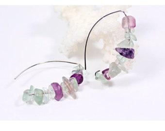 cluster earrings gemstone earrings boho earrings statement earrings purple green jewelry purple-green fluorite jewelry summer earrings ї02
