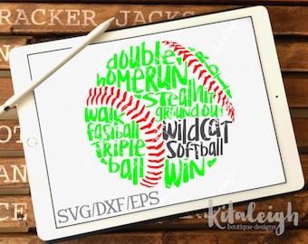 Messy Wildcat Softball INSTANT DOWNLOAD in dxf, svg, eps for use with programs such as Silhouette Studio and Cricut Design Space