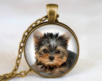 Yorkie ornament yorkshire terrier ornament gift for dog yorkie necklace yorkshire terrier gift for dog lover yorkie pendant necklace glass aloadofball Choice Image