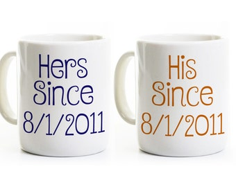 Anniversary Gift Mug Set - His and Her Coffee Mugs - Hers Since His Since - Marriage Anniversary Gift Set Custom Date Boyfriend Girlfriend
