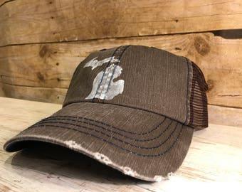 Brown Michigan hat