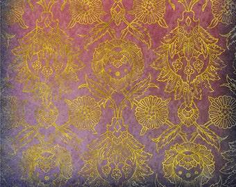 Downloadable Scrapbooking Paper, Violet Damask