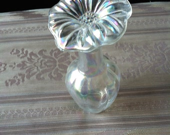 "Vintage 60's ""IRIDESCENT PERFUME BOTTLE"" With Glass Flower Top Stopper"