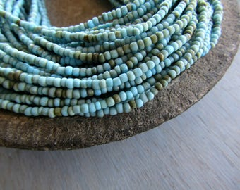 Mini seed glass beads Blue Rustic  Matte and glossy Organic shape-  Indonesia  1 to 2 mm  x 2.5mm ( 44 inches  strand ) 7ab31-1
