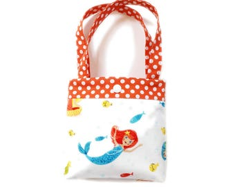 Toddler tote little girl purse mermaid tote orange tote mermaid purse little girl birthday gift toddler gift tot tote water resistant lining
