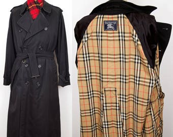 Burberrys Black Trench Coat / vintage Burberry double breasted over coat, belted doublebreasted rain coat raincoat / men's extra large-xl