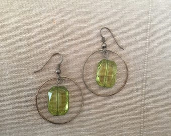 Dangling Green Gemstone Hoops