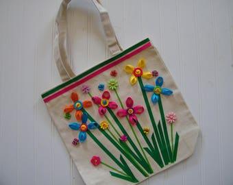 Spring canvas tote bag
