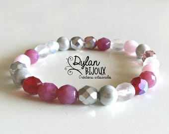 Mix of pink faceted Beads Bracelet