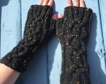 Black Fingerless Mittens,Mittens,Mitts,Fingerless Gloves,Handknitted Mittens,Handknitted Gloves,Gloves,Cable Pattern Mittens,Wrist Warmers