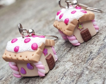 Gingerbread Houses Earrings. Polymer Clay. Kawaii Christmas Jewelry. OOAK.