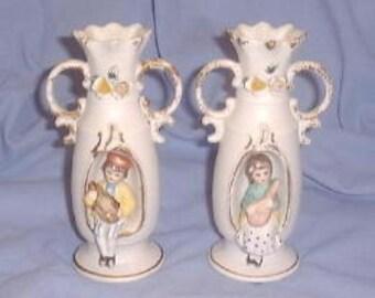 Vintage Bisque Vases (Pair) Children With Instruments