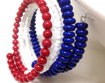 Red, white, and blue Patriotic USA beaded memory wrap bracelet with four wraps