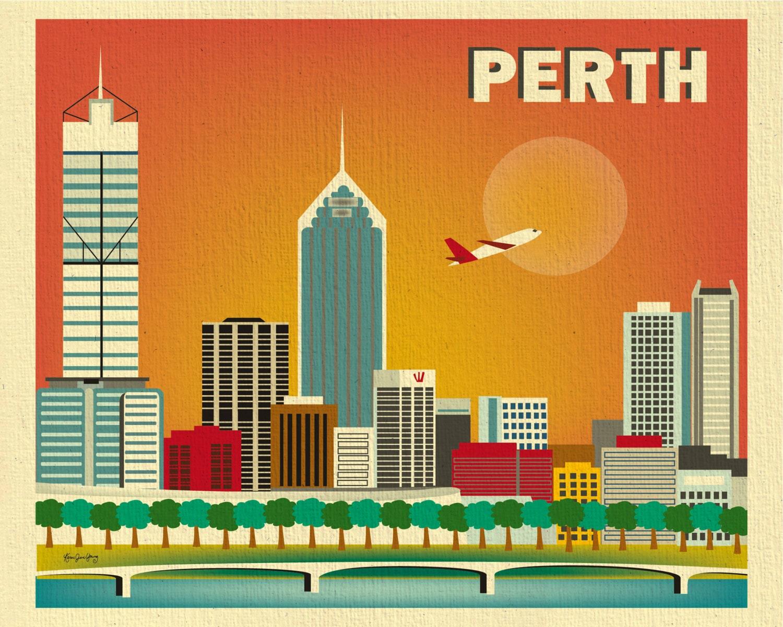Perth Skyline Print Wall Art Perth Poster Perth map