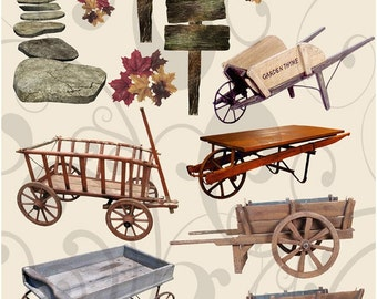 Collage Sheet Wagons and Wheelbarrows Jpeg and PNG Images
