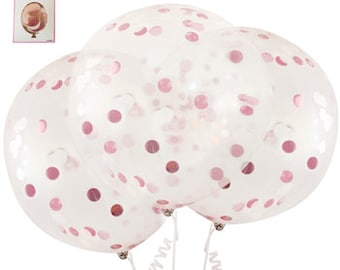 3 x 45cm pink confetti balloons. Baby shower decoration, confetti balloon,  kids birthday, table centrepieces, 1st birthday, pink and gold