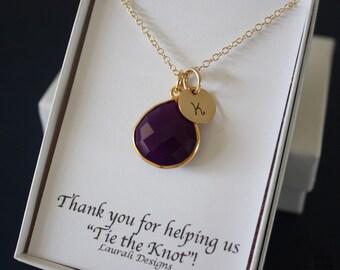 6 Monogram Bridesmaid Necklace Purple, Bridesmaid Gift, Dark Plum Gemstone, Gold, Initial Jewelry, Personalized, Purple Gemstone Charm