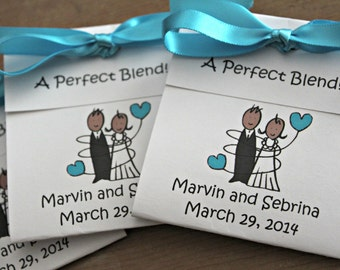 African American Bride and Groom Personalized Tea Bag Favors Cute Black Blue Wedding and Bridal Shower Party Favors