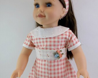 18 inch  Doll Dress Fits American Girl Doll Heritage 1930 s Apricot Gingham with Off- White Eyelet  Collar Hair Band