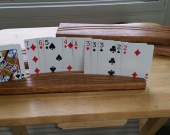 Double row playing card holders - set of 4