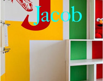 Dinosaur wall decal and name of your choice, text, room, decal