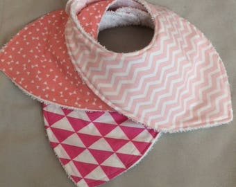 set of 3 baby girl pink, coral, Fuchsia and white bandana bibs