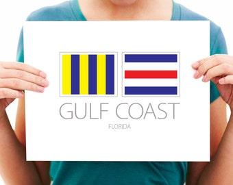 Gulf Coast - Florida - Nautical Flag Art Print