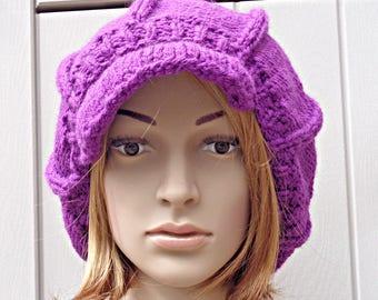 Purple newsboy hat, baker boy cap, hat with visor, Winter hat, knitted baker cap, knit newsboy hat, ladies hat, Winter accessories,