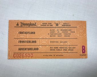 Disneyland B Ticket Admission from an Adult Ticket Book from 1979 795 B Coupon RARE!