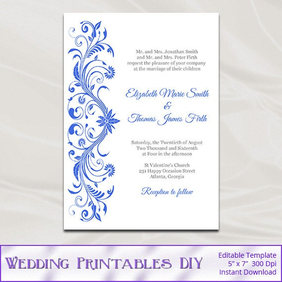 Royal Blue Wedding Invitations Template Diy Printable Bridal
