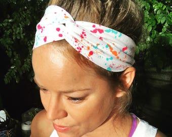NEW* Two Styles/Turban-Twist Headband- PAINT SPLATTER