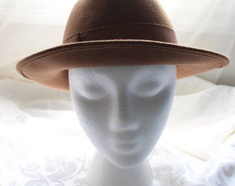 Vintage Signed Rossi 100% Wool Fedora Type Hat in Light Brown