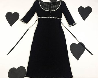 90's Betsey Johnson sheer gingham net ribbon trim dress Y2k frilly babydoll pinup scoop neck 3/4 length sleeve goth cyber picnic dress XS P