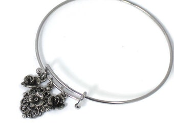 Adjustable charm bracelet women jewelry gift for her floral flower expandable bangle layering