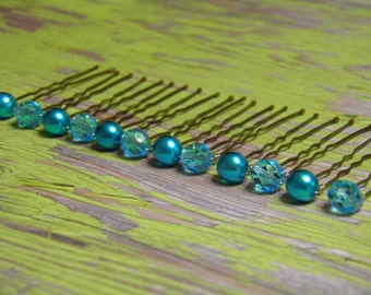 12 Turquoise Blue 8mm Czech Crystals and Pearl Hair Pins