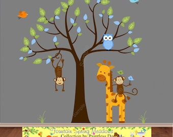 Jungle decal with Giraffe Sticker and Hanging Monkey Decal | Jungle Wall Sticker |Playroom Wall Decor| Tree Decal for Nursery - s25u