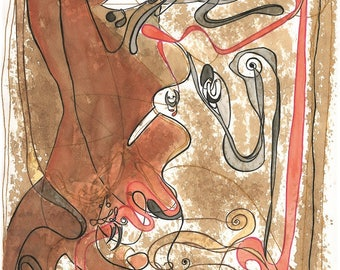 """Digital Serigraph Limited to 10 copies signed by the artist. Title: """"Spirits Hoodoo""""-Measures 48 x 33 cm"""