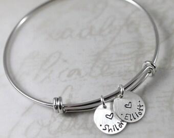 Mother's Day gift, silver personalized bracelet, mother gift, expandable bangle bracelet, custom hand stamped names, charm bracelet
