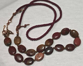 Gemstone and leather necklace, hand knotted, rustic red creek jasper, leather boho jewelry, gypsy bohemian necklace / hand knotted gemstones
