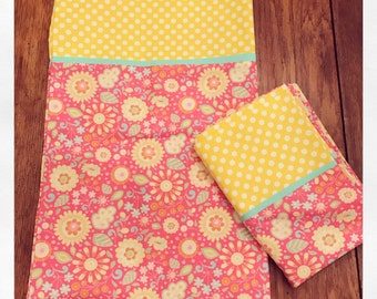 Pink and Yellow Floral Pillowcase Set/Pillow Cases