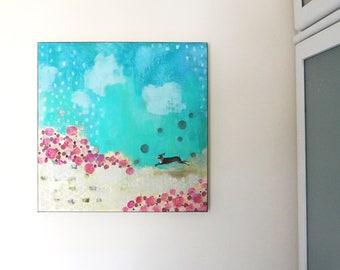 Bunny Rabbit Wall Art- Abstract Floral Canvas Art- Large Canvas Floral Wall Art