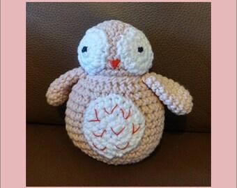Plush - Toy - AMIGURUMI - pink OWL - crochet
