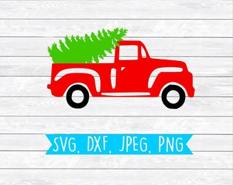 Christmas tree truck, Red truck, Christmas Svg, Svg files for, Silhouette, Cricut, Cut files, Holiday Svg, Dxf, Png, Clipart, Farmer Truck