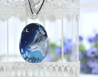 Hand painted stone  Wolf pendant/necklace  925 Sterling Silver FREE SHIPPING