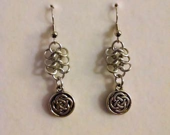 Celtic Knot Charm Silver Chainmaille Earrings