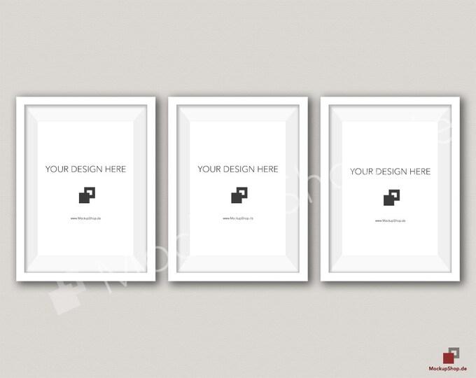 5x7 WHITE FRAME MOCKUP / Set of 3 / beige Wall Mockup / Frame Mockup /  White Photo Frame Mockup / Instand Download / FrameMockup