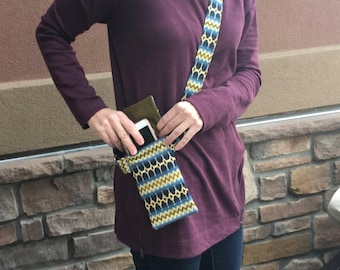 Cell phone purse that secures your phone, cross body cell phone purse in designer fabric, tiny purse that is comfortable and chic