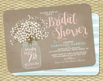 Baby Shower Invitation Baby Boy Mason Jar Babys Breath
