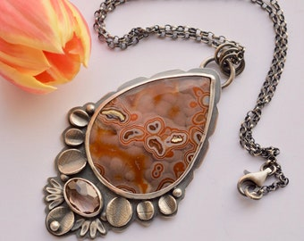 Agate Necklace, 925 Silver Metalwork Necklace, Leaf Details, Bezel Work, Mothers Day Gift, Gift for Women, Artisan Jewelry